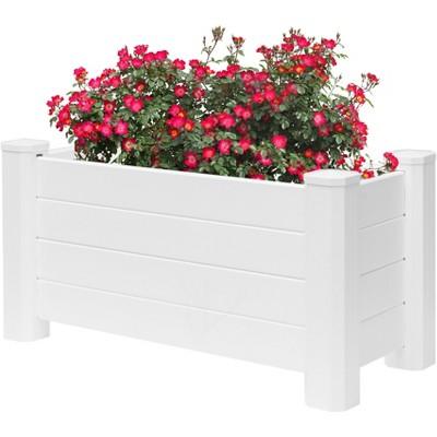 White Vinyl Traditional Fence Design Garden Bed Elevated Screwless Raised Planter Box