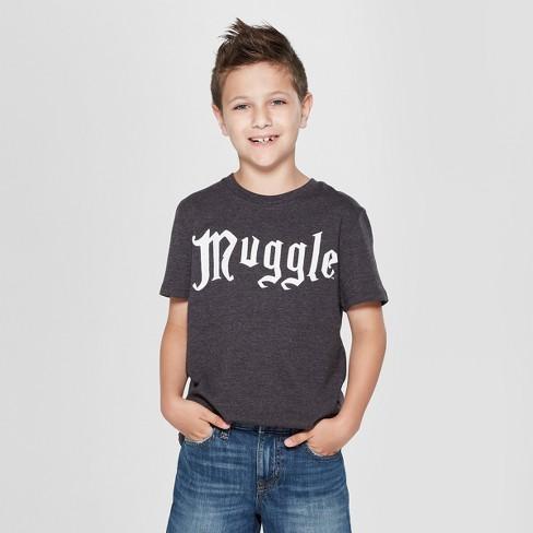 a5dcf3da2859 Boys  Harry Potter Muggle Short Sleeve Graphic T-Shirt - Black XS ...