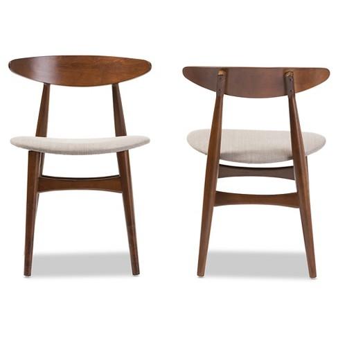 Flora Mid Century Modern Light Gray Fabric Oak Medium Brown Finishing Wood Dining Chairs Set Of 2 Baxton Studio Target