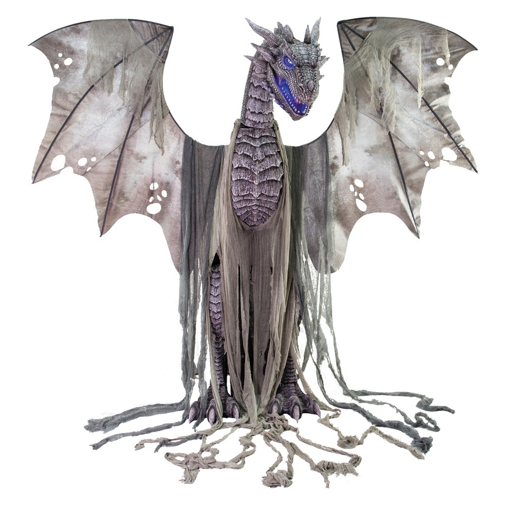 7ft Halloween Animated Winter Dragon Prop, Multi-Colored