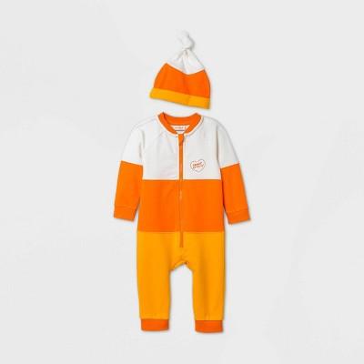 Baby Boys' Candy Corn Long Sleeve Romper Set with Hat - Cat & Jack™ Orange Newborn