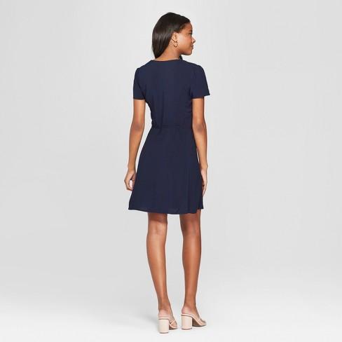 3d884346d7 Women s Short Sleeve Side Button-Front Wrap Dress - Xhilaration™ Navy    Target
