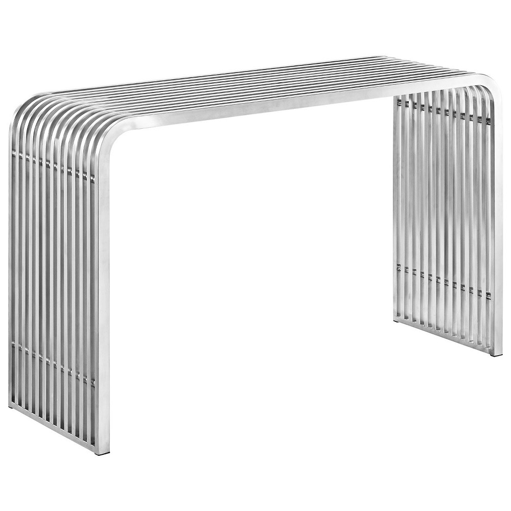 Image of Pipe Stainless Steel Console Table Silver - Modway