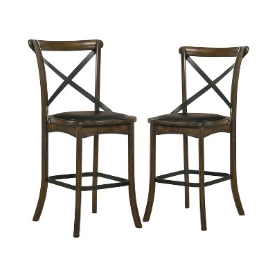 """2pc 24.75"""" Somers Padded Seat Counter Height Barstools Oak - HOMES: Inside + Out"""