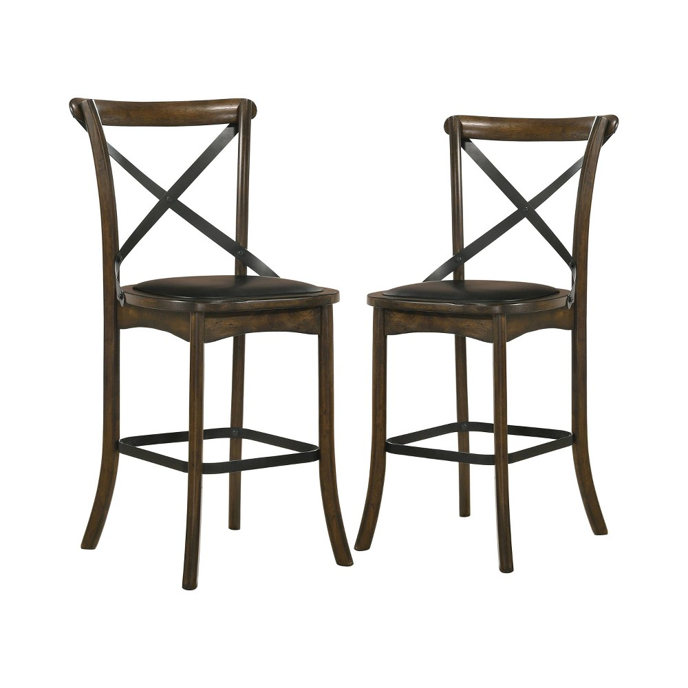 """Image of """"2pc 24.75"""""""" Somers Padded Seat Counter Height Chairs Oak - ioHOMES"""""""