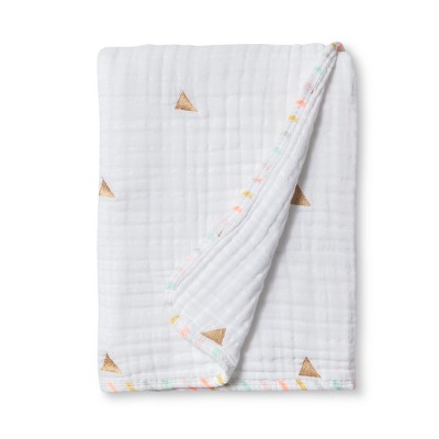 Muslin Quilt Blanket Metallic Gold Triangles - Cloud Island™ True White