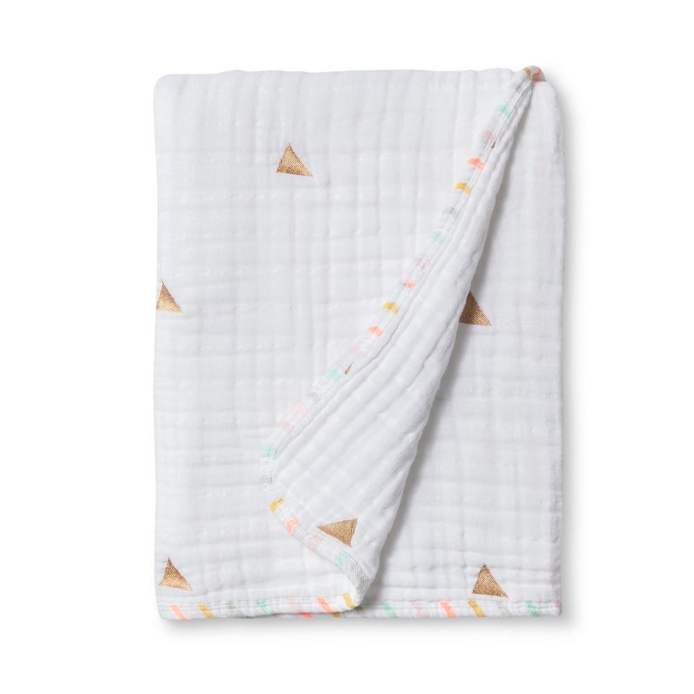 Muslin Quilt Blanket Metallic Gold Triangles - Cloud Island True White was $24.99 now $14.99 (40.0% off)