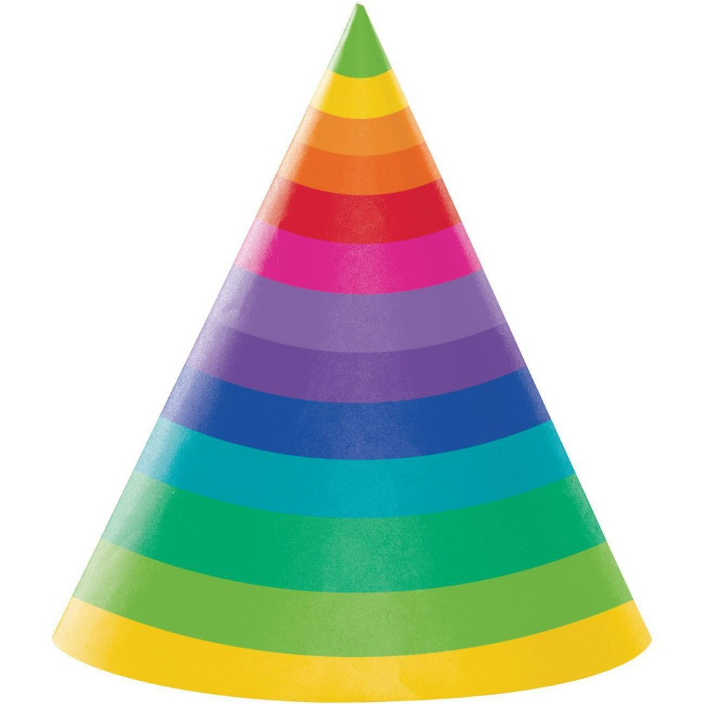 Image of 24ct Rainbow Adult Party Hats, Adult Unisex