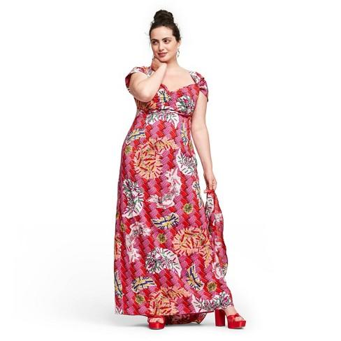 Women\'s Plus Size Safety-Pin Print Cap Sleeve Sweetheart Neck Maxi Dress -  Zac Posen for Target Magenta