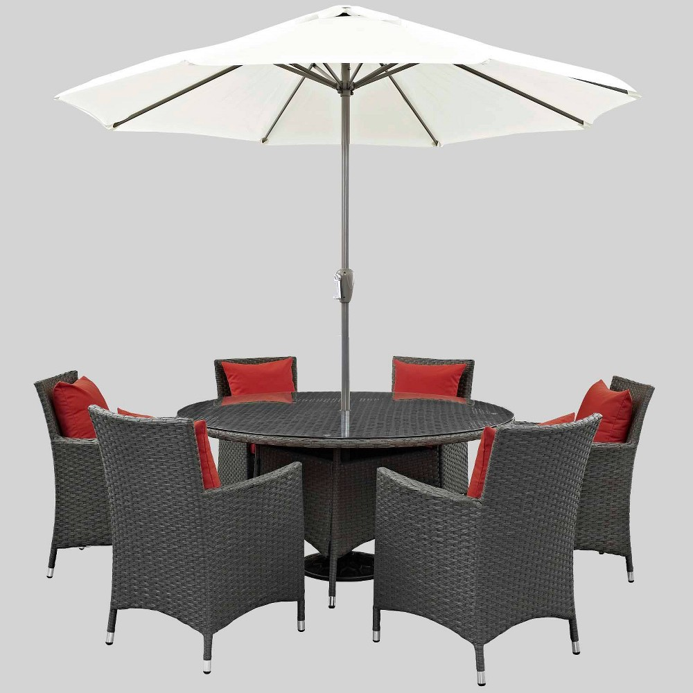 Sojourn 8pc Outdoor Dining Set with Sunbrella Fabric - Red - Modway