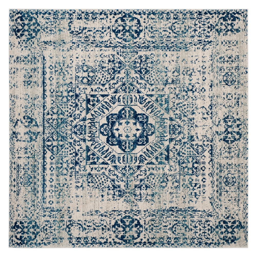 67x67 Medallion Loomed Square Area Rug Ivory/Blue - Safavieh Best