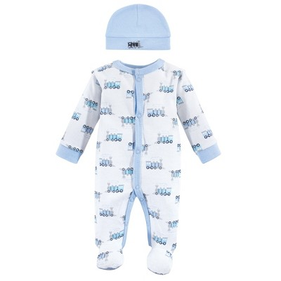 Luvable Friends Baby Boy Cotton Preemie Snap Sleep and Play and Cap 2pc Set, Train, Preemie