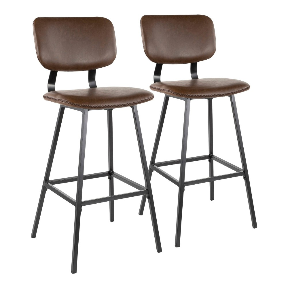 Set of 2 Foundry Contemporary Barstool Faux Leather Black/Espresso - LumiSource, Espresso Brown