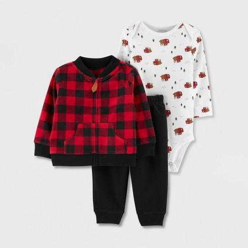 Infant Babys Cotton Long Sleeve Buffalo Plaid Moose Red Black Romper Bodysuit One-Piece Romper Clothes