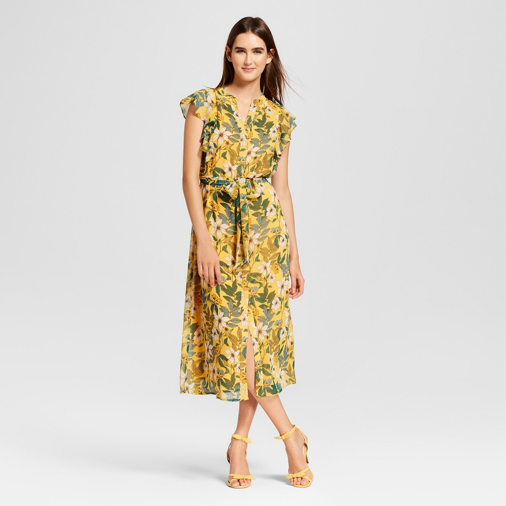 Women's Floral Print Ruffle Sleeve Midi Dress - Who What Wear Yellow XS, Yellow Floral