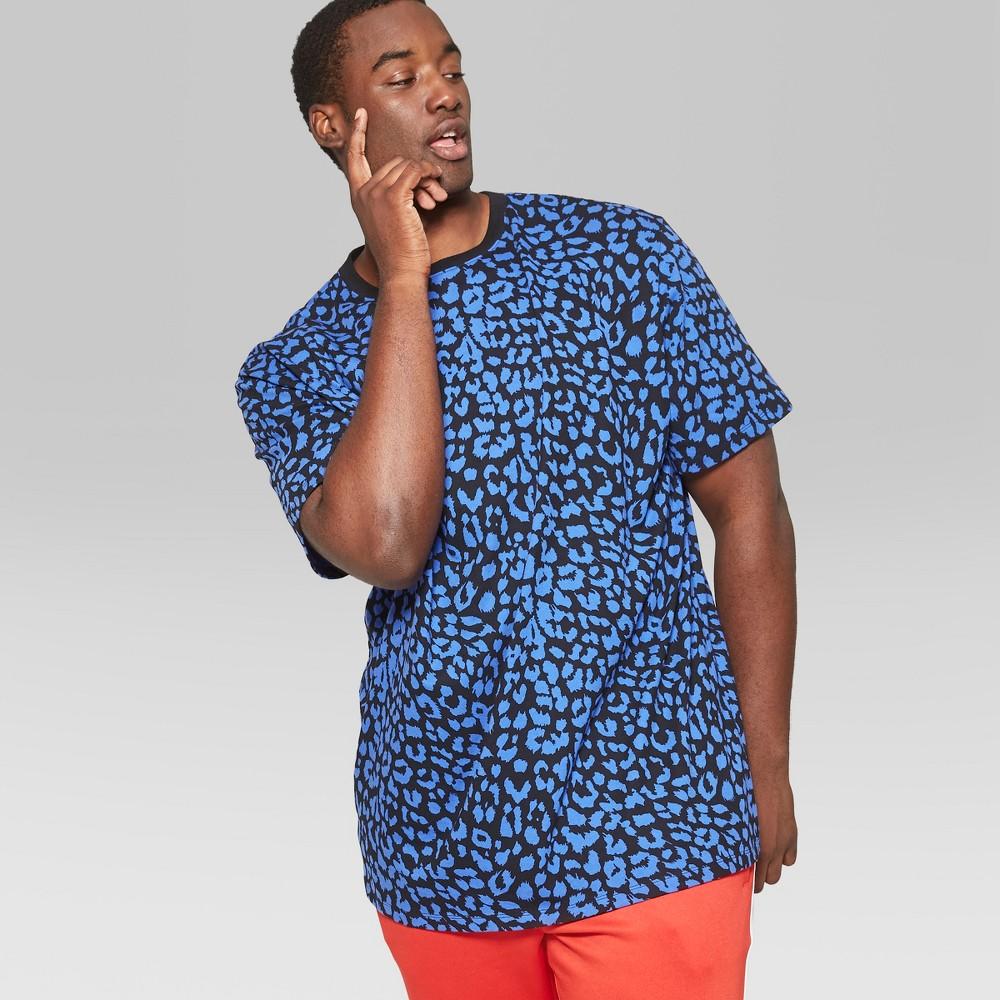 Men's Tall Leopard Print Short Sleeve Boxy T-Shirt - Original Use Blue MT