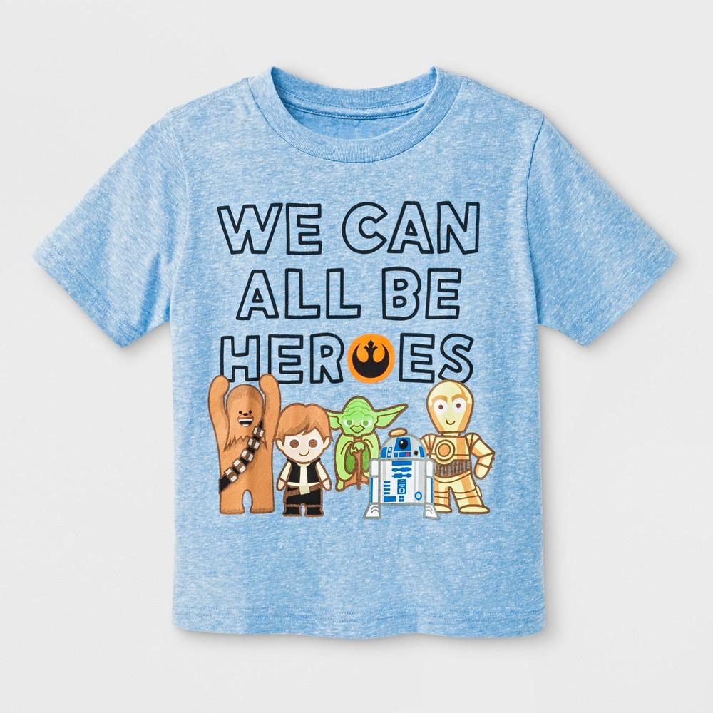 Toddler Boys' Star Wars Be Heroes Short Sleeve T-Shirt - Light Blue 4T