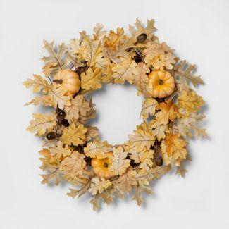 Faux Oak Leaf & Pumpkin Wreath