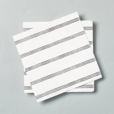 14ct Disposable Thin Stripes Cocktail Napkin Gray/White - Hearth & Hand™ with Magnolia
