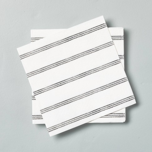 14ct Disposable Thin Stripes Cocktail Napkin Gray White Hearth Hand With Magnolia Target