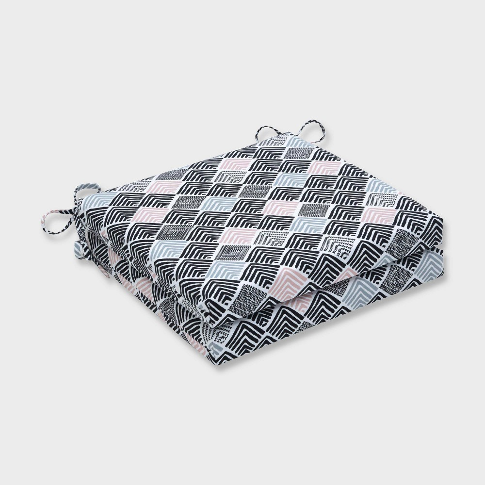 "Image of ""20"""" x 20"""" x 3"""" 2pk Belk Shadow Squared Corners Outdoor Seat Cushions Black - Pillow Perfect, Pink Blue Black"""