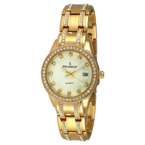 women's peugeot® round crystal bezel date window watch - gold : target