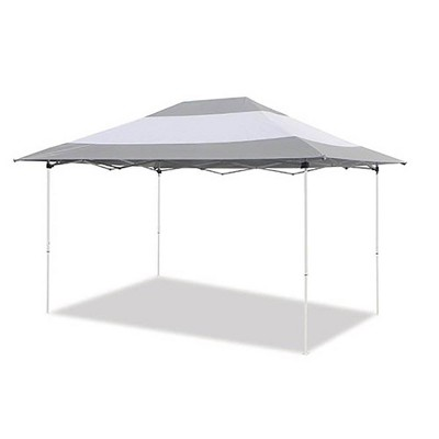 Z-Shade 14 x 10 Foot Prestige Instant Shade Outdoor Canopy Shelter Tent with Reliable Stakes, Steel Frame, and Rolling Bag, Grey & White