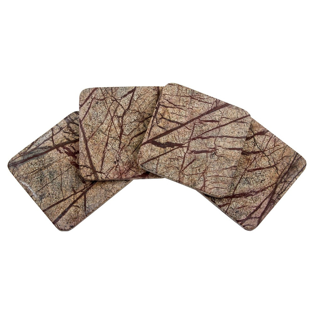 Image of Thirstystone Square Rainforest Marble Coasters Set of 4, Brown