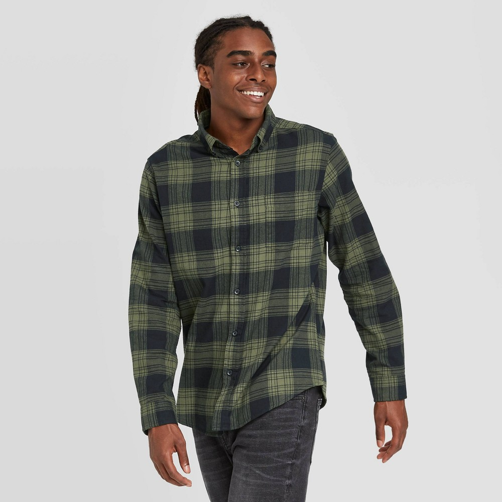 1960s Men's Clothing Mens Standard Fit Long Sleeve 1-Pocket Flannel Button-Down Shirt - Goodfellow  Co Green 2XL $27.99 AT vintagedancer.com