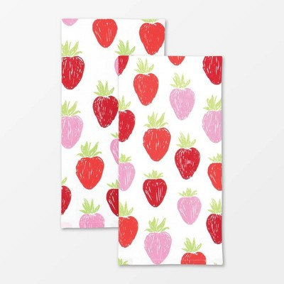 2pk Designer Strawberry Print Towel - MU Kitchen