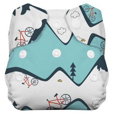Thirsties Natural All-in-One Snap Diaper, Newborn - Mountain Bike