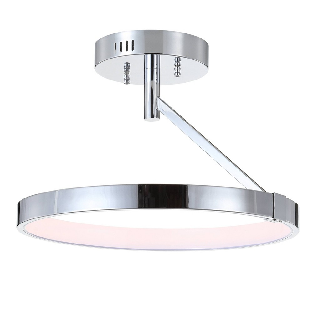 "Image of ""17.5"""" Owen Dimmable Integrated LED Metal Semi-Flush Mount Chrome - JONATHAN Y"""