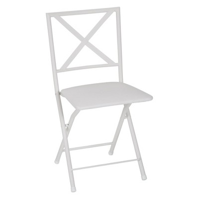 Cosco 4pc Back Metal Folding Dining Chair with Vinyl Seat White
