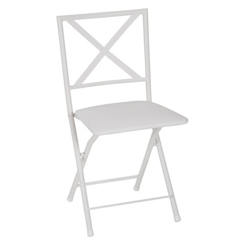 Remarkable Cosco 4Pc Back Metal Folding Dining Chair With Vinyl Seat White Theyellowbook Wood Chair Design Ideas Theyellowbookinfo