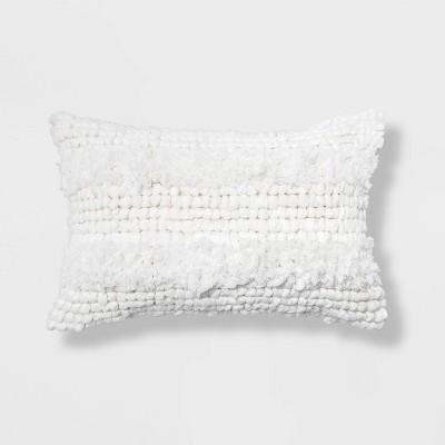 Textured Lumbar Throw Pillow White - Opalhouse™