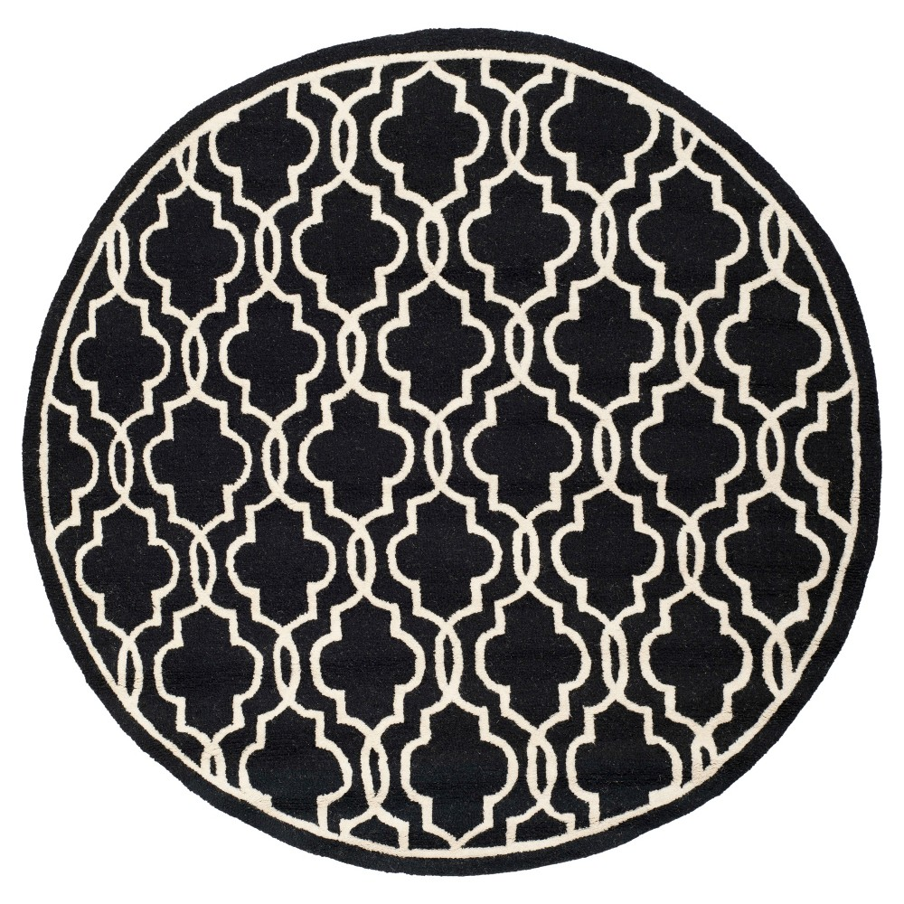 Langley Textured Area Rug - Black/Ivory (6' Round) - Safavieh