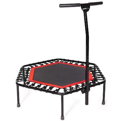 SportPlus Unisex Quiet Miniature Indoor Rebounder Home Fitness Trampoline with Height Adjustable Bar, Red