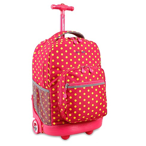 J World Sunrise Rolling Backpack - Pink Buttons - image 1 of 7