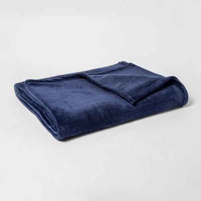 Twin/Twin XL Micromink Bed Blanket Navy - Room Essentials™