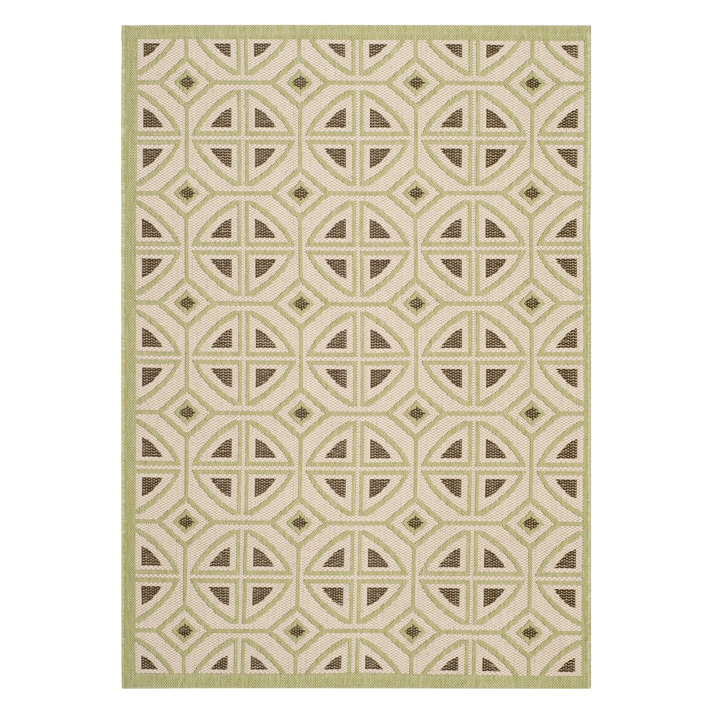 Pierre Rectangle 2'7 X 5' Outdoor Rug - Beige / Sweet Pea - Safavieh, Green
