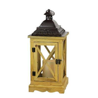 "Northlight 17.5"" Rustic Wooden Lantern with Brown Metal Top and LED Flameless Pillar Candle with Timer"