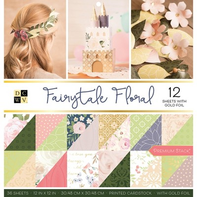 """DCWV Double-Sided Cardstock Stack 12""""X12"""" 36/Pkg-Fairytale Floral, 18 Designs/2 Each"""