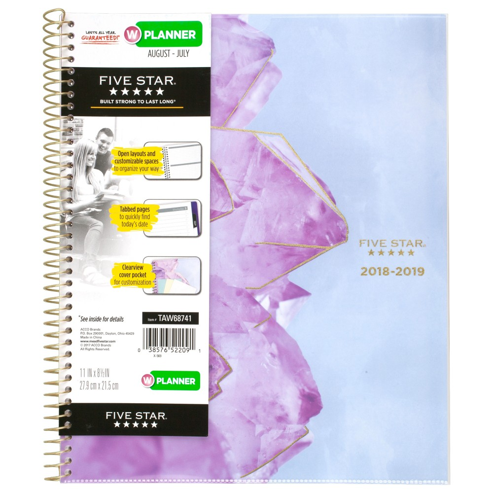 2018-19 8.5 x 11 Academic Planner Crystals Purple - Five Star