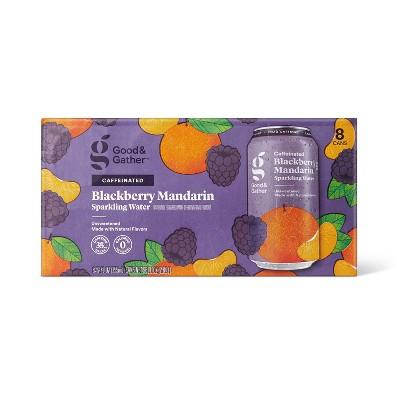 Blackberry Mandarin Sparkling Water with Caffeine - 8pk/12 fl oz Cans - Good & Gather™