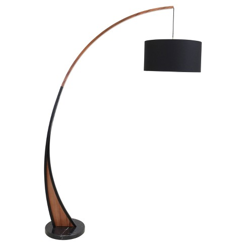 noah mid century modern floor lamp with walnut frame and marble base lumisource target - Mid Century Modern Floor Lamp
