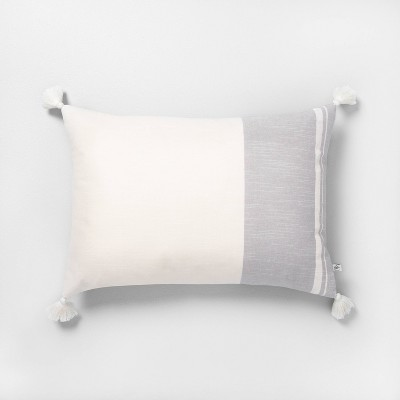 "14"" x 20"" Color Blocked Stripe Tassel Throw Pillow Neutral Gray - Hearth & Hand™ with Magnolia"