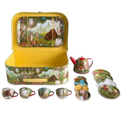 HearthSong 15-Piece Woodland-Themed Tin Tea Set with Carrying Case for Kids