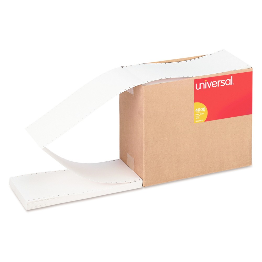 Image of Universal Continuous Unruled Index Cards, 3 x 5, White, 4,000/Carton