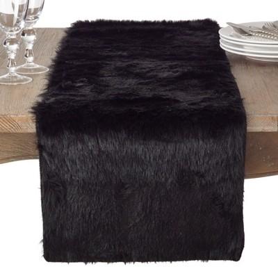 Black Solid Table Runner - Saro Lifestyle