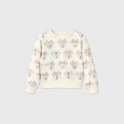 Toddler Girls' Minnie Mouse Printed Fleece Pullover - Cream